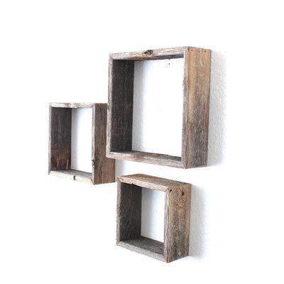 Rustic Open Box 100% Reclaimed Wood 3 Piece Accent Shelf Set